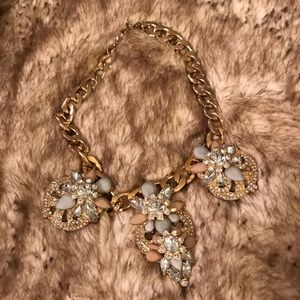 Blue, pink, and diamond bling gold necklace